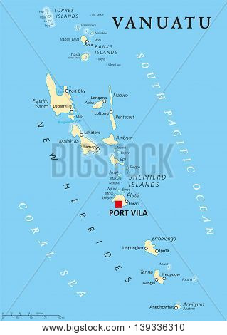 Vanuatu political map with capital Port Vila. Republic and island nation in South Pacific Ocean. New Hebrides with largest islands Espiritu Santo, Malakula and Efate. English labeling. Illustration.