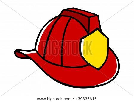 Doodle illustration of a firefighter helmet isolated on white