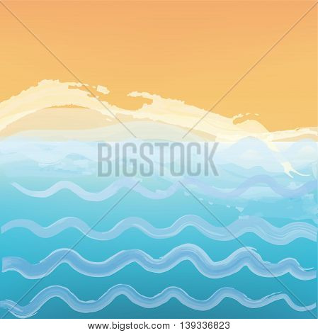 Abstract sea or ocean background with a beach. Vector graphic illustration.