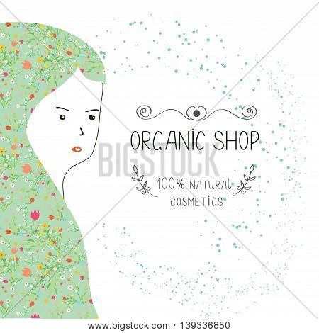 Spa or organic shop banner with girl and nature elements. Vector graphic illustration.