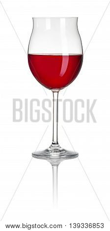 Filled Burgundy Glass On A White Background