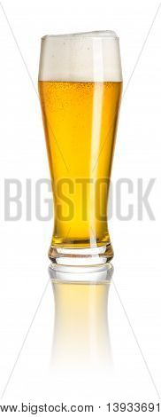 A wheat beer on a white background