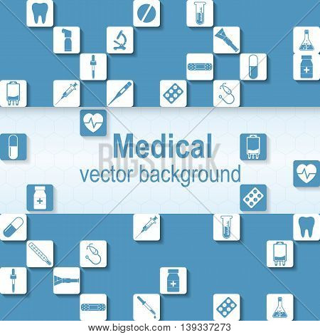 Medical background. Vector illustration. Health care and medical research. Space for text template.