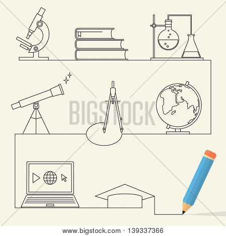 Set of linear style icons for education concept