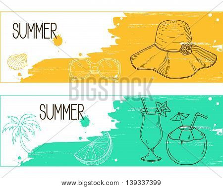 Banners with hand drawn elements over brush strokes and paint splashes grunge background for summertime holidays and resorts design