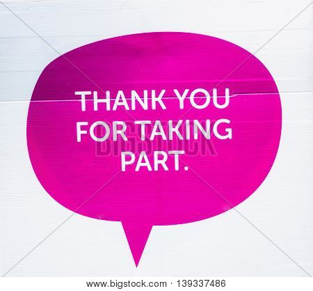 A thank you sign for taking part