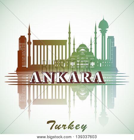 Vector illustration of modern Ankara City Skyline Design with landmarks. Turkey