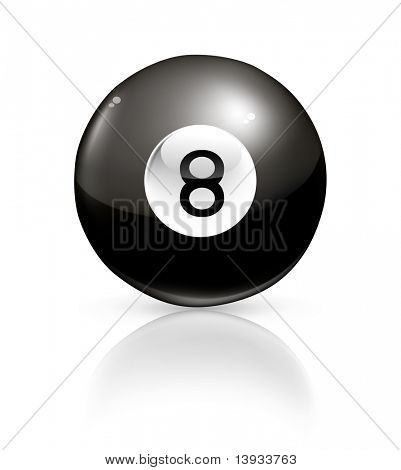 Black billiard ball, vector