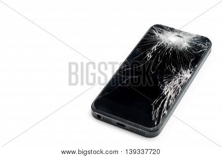 Mobile smartphone with broken screen isolated on white background with
