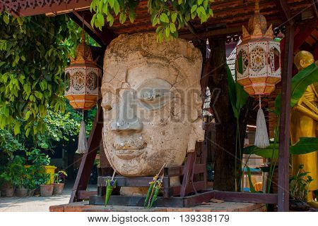 The Sculpture Of The Head. Thailand Temple. Chiangmai.