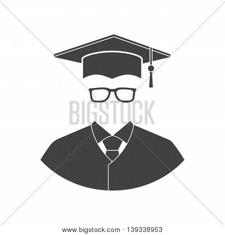Student icon isolated on a white background. Flat design style vector illustration. Education graduation.