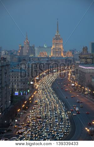 Traffic jam at Kutuzov Avenue in evening in Moscow, Russia