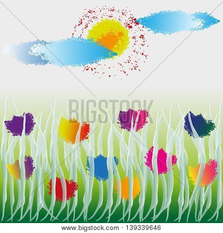 Vector illustration of wildflowers Drawing wild flowers in the grass under the sun and clouds, in the style of water color, splashes  and  spray, on a light background
