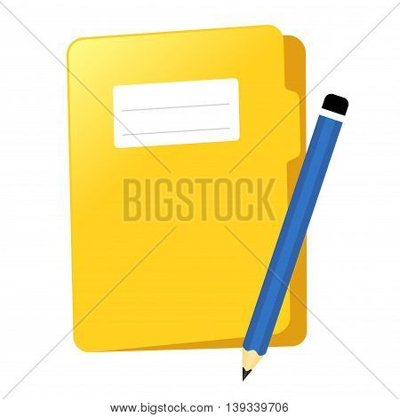 Vector stock of yellow document file folder with pencil