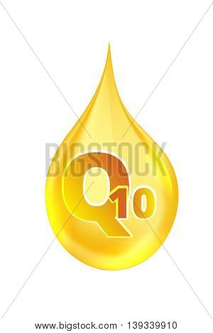 Coenzyme Q10. vector illustration of realistic drop oil icon isolated on white background.