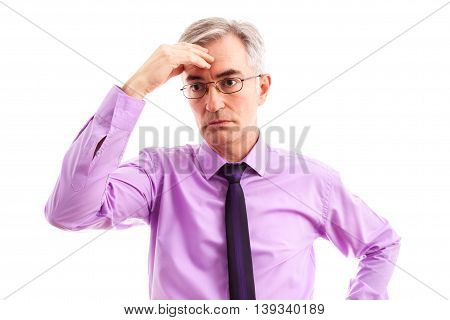 Worried businessman without plans, isolated on white