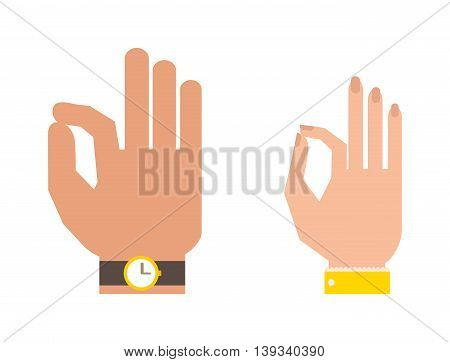 Okey hand success symbol, ok hand yes agreement.