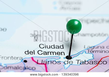 Ciudad del Carmen pinned on a map of Mexico