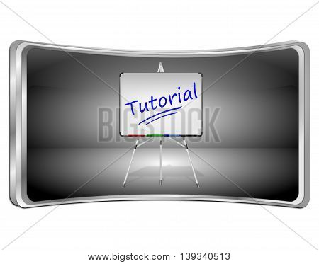 Tutorial Button with Whiteboard - 3D illustration
