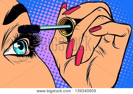 Makeup. Eyeliner. Make-up Applying closeup. Cosmetic Eyeshadows. Eyeline brush  pop art retro vector