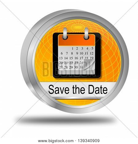 Save the Date Button - 3D illustration