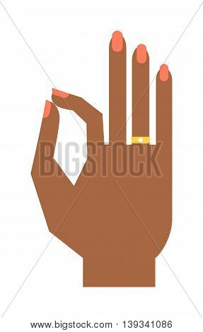 Okey hand success symbol, ok hand yes agreement