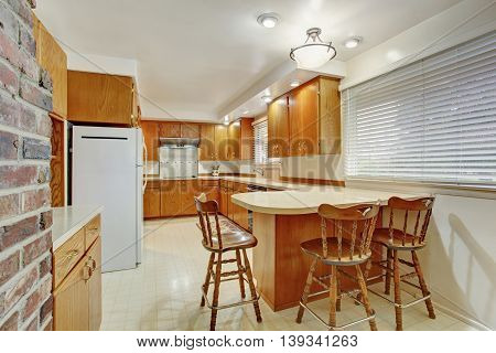 Classic Kitchen Room With Wooden Cabinets
