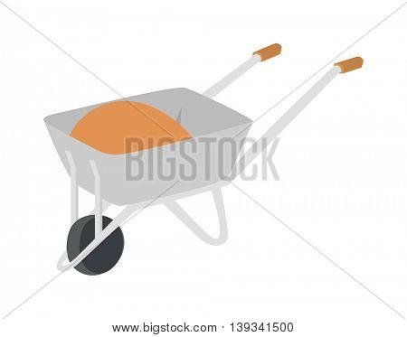 Construction wheelbarrow vector illustration.