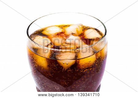 Top View Of Cola Soft Drink With Ice In Glass