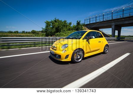 Verona Italy July 16 2016: Photo of Fiat Abarth 500 695 Tributo Ferrari. The 695 differs substantially from 500 for the aggressive appearance and a few deliberately exaggerating the sporty character.