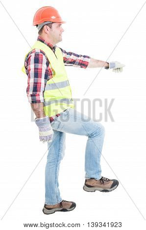 Attractive Builder Doing One Step