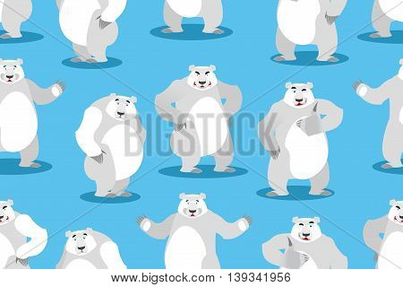Polar Bear Seamless Pattern. Set A Wild Animal. Wild Beast With White Fur. Big Powerful Predator Of