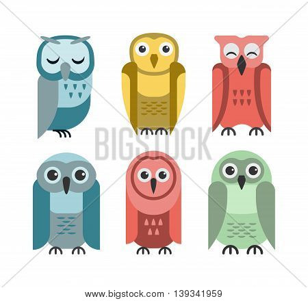 Cute vector collection of bright cartoon owls.