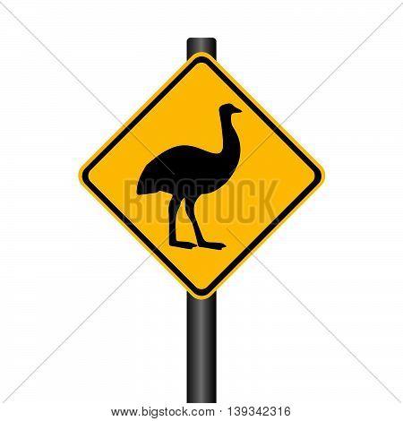 Vector Black Emu on Yellow Warning Signpost Illustration