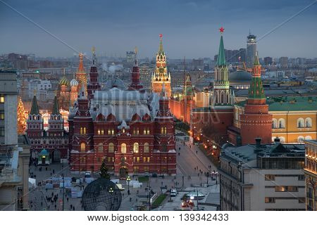 Historical Museum on Red Square in winter evening in Moscow, Russia