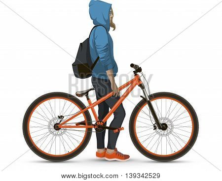 A student with a Bicycle. A young girl with a backpack and a Bicycle.