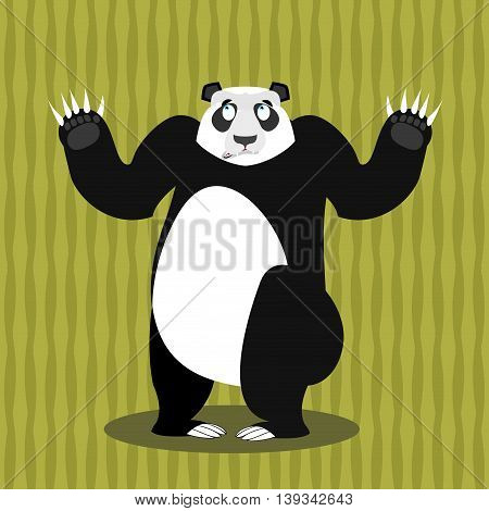 Surprised Panda Oops. Perplexed Chinese Bear. Struck By A Wild Animal. With Wide-eyed Animal