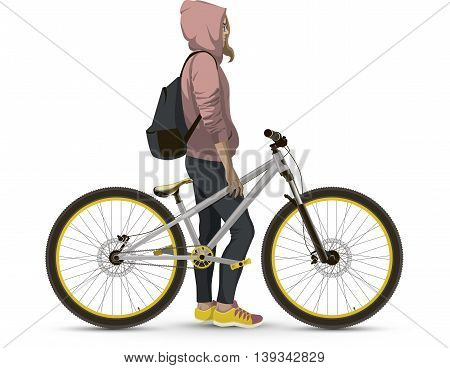 Girl with MTB bike. On a white background realistic.