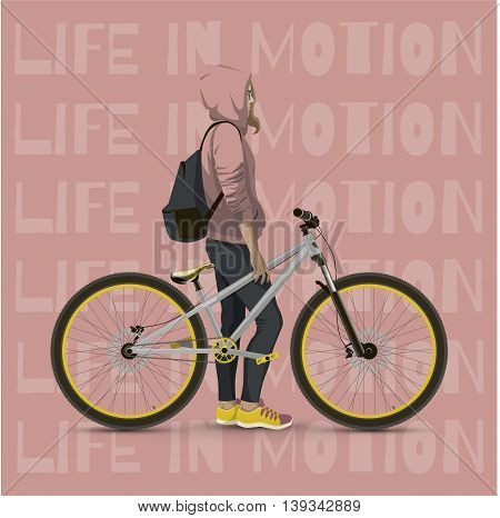 Girl with bicycle. Color background with text.