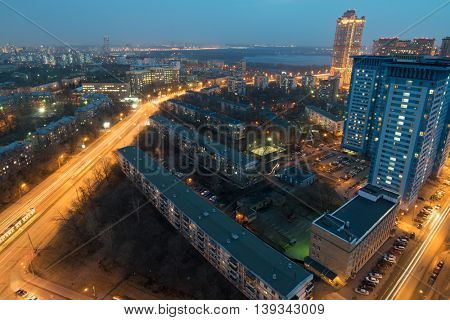 Residential area Shchukino and Strogino bay at night in Moscow, Russia