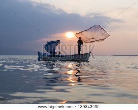 sunset time on the fisherman town in Bursa city to Turkey
