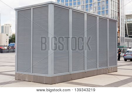 Industrial air conditioning and ventilation systems. Ventilation system of factory. HVAC as Heating Ventilating Air Conditioning.