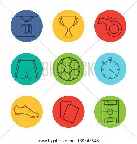 Soccer equipment linear icons set. Football player kit, soccer ball, field, award, whistle, referee cards, stopwatch. Soccer shirt, shorts and boot. Thin line on color circles. Vector illustrations