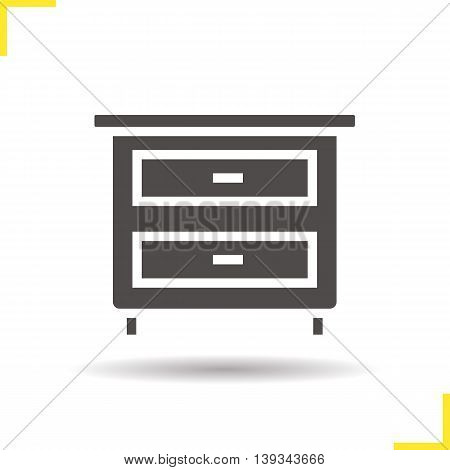 Nightstand icon. Drop shadow silhouette symbol. Bedside table with drawers. Vector isolated illustration