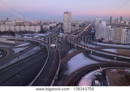 Road interchange of People Militia street, Mnevniki street and avenue Marshal Zhukov in Moscow at evening