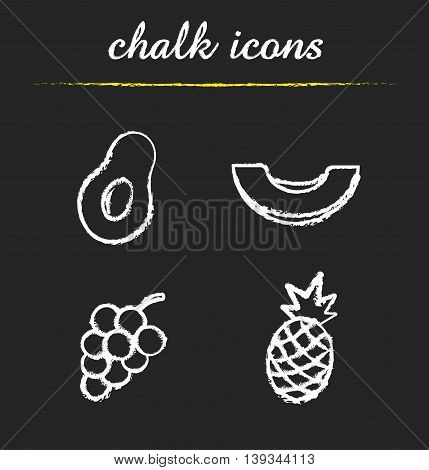 Fruit icons set. Halved avocado, sliced melon, bunch of grapes, pineapple illustrations. Isolated vector chalkboard drawings