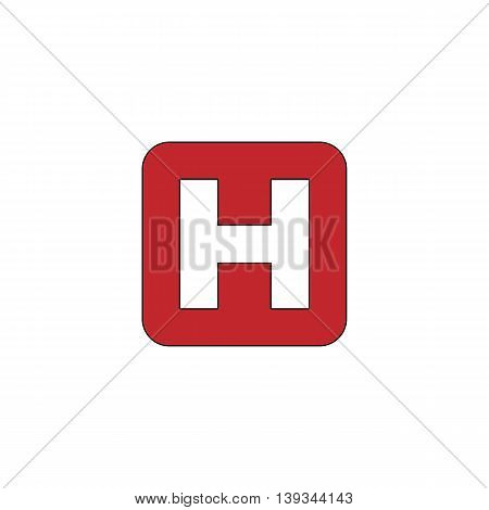 Hospital. Red flat simple modern illustration icon with stroke. Collection concept vector pictogram for infographic project and logo