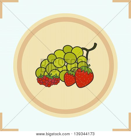 Berries color icon. Grocery store items. Bunch of green grapes, strawberry and raspberry on wooden plate. Vector isolated illustration