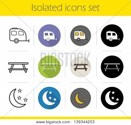 Camping icons set. Flat design, linear, black and color styles. Trailer, wooden table and night symbols. Travelling isolated vector illustrations