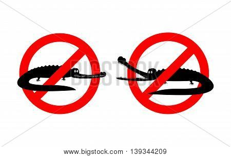 Stop Crocodile. Prohibited Alligator. Strikethrough Caiman. Emblem Against Predator Reptile. Red Pro